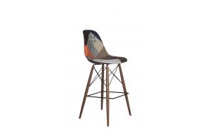 bar stool Alexis, patchwork, dark brown feet