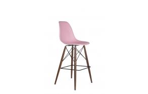 bar stool Alexis, pink, dark brown feet