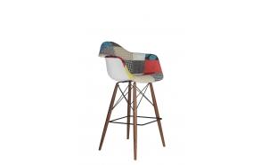 "bar stool Beata, ""patchwork"", dark brown feet"