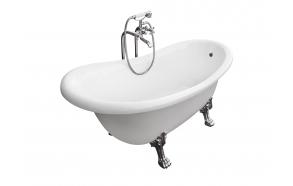 Odelle 170 cm, chromed feet,white, w drain and overflow hole