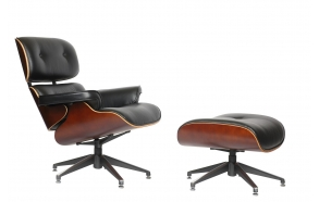armchair Bond, black + hocker