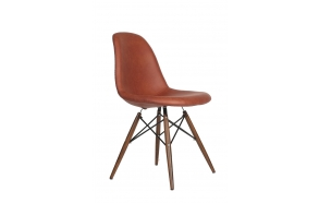 chair Alexis, brown PU leather, light brown feet