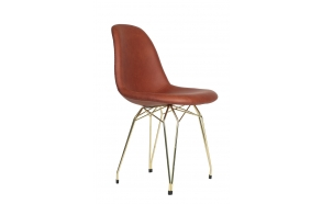 """chair Alexis, brown PU leather, golden metal """"Y"""" feet"""