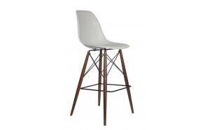 bar stool Alexis, light grey, dark brown feet