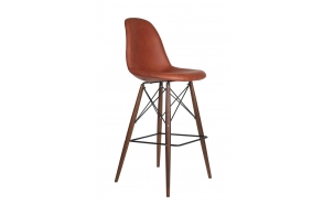 bar stool Alexis, brown PU leather, dark brown feet