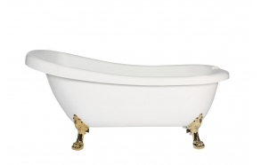 retro bathtub Susanna, golden feet, plastic drain included