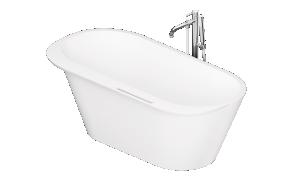 Silkstone bath Deco Rim white