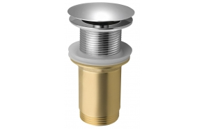 Unslotted Washbasin Waste (H) 10-50mm, big plug/chrome