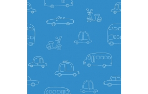 Hoopla Cars Silhouette SidewallBlue