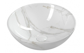 DALMA ceramic washbasin 42x42x16,5 cm, white, click-clack not included