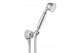 Wall water outlet with support, flexible and hand shower, chrome