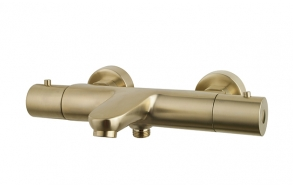 Caral thermostatic bath mixer, brushed brass