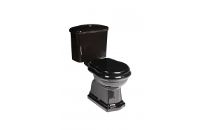 black Retro wc compact, S-trap, chromed fittings (101204+ 108104+ 750990)