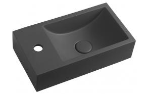 CREST L concrete washbasin including waste, 40x22 cm, anthracite
