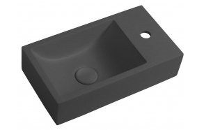 CREST R concrete washbasin including waste, 40x22 cm, anthracite