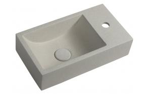 CREST R concrete washbasin including waste, 40x22 cm, white sandstone