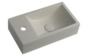 CREST L concrete washbasin including waste, 40x22 cm, white sandstone