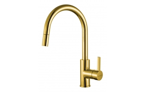 kitchen mixer Tesla with pull-out spray, gold