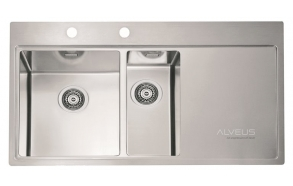 square stainless steel basin with worktop PURE 60 left, 98x52.5 cm height 20.5 cm, satin finish. Automatic drain 3 1/2´´included.