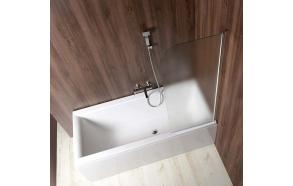 VILMA bathtub screen 60x140 cm, textured glass, right