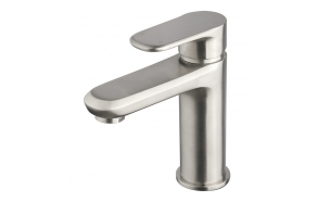 basin mixer Drop brushed steel, without click-clack