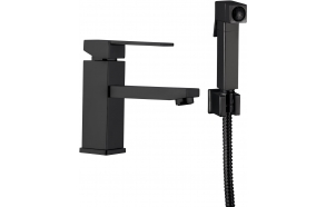 basin mixer Sky Square with bidet spray and click-clack pop-up waste, mat black
