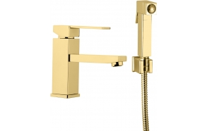 basin mixer Sky Square with bidet spray and click-clack pop-up waste, shiny gold