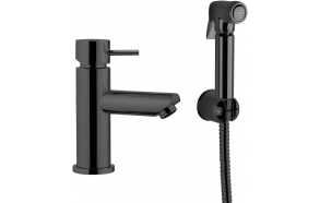basin mixer Suvi Round with bidet spray and click-clack pop-up waste, mat black