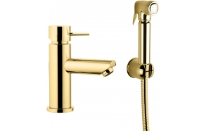 basin mixer Suvi Round with bidet spray and click-clack pop-up waste, shiny gold
