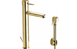 high basin mixer Suvi Round with bidet spray and click-clack pop-up waste, shiny gold