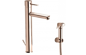 high basin mixer Suvi Round with bidet spray and click-clack pop-up waste, shiny copper
