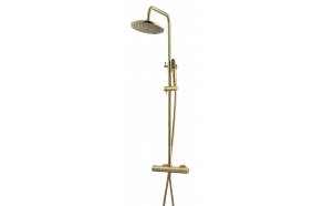 Thermostatic rain shower set Caral, brushed brass (PVD)