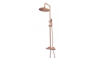 Thermostatic rain shower set Caral, brushed copper (PVD)