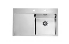 kandiline köögivalamu töötasapinnaga PURE 40 parem, 79x52.5 cm h 20.5 cm, roostevaba satiin. Komplektis põhjaklapp ja sifoon 3 1/2´´.