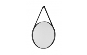 ORBITER round mirror with strap, ø 50cm, matt black