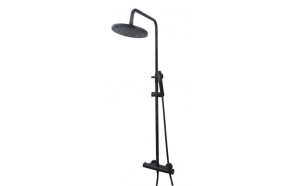 Thermostatic rain shower set Caral, black mat (PVD)