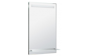 LED backlit mirror 50x80cm, glass shelf, button switch
