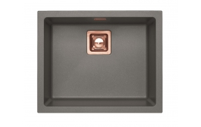 SINK ALVEUS QUADRIX 50 Steel G04M P-U, with copper color fitings ( 1108037 + 1127155 + 1105242 + 1113996)