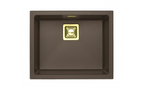 SINK ALVEUS QUADRIX 50 Chocolate G03M P-U, with gold color fitings  ( 1108036 + 1127152 + 1103421 + 1110854)