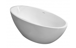 Oval freestanding acrylic bathtub 170x78 matt white