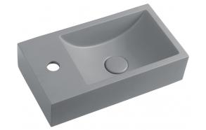 CREST L concrete washbasin including waste, 40x22 cm, grey