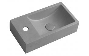 CREST L concrete washbasin including waste, 40x22 cm, grey brindled