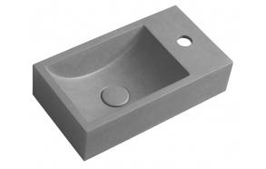 CREST R concrete washbasin including waste, 40x22 cm, grey brindled