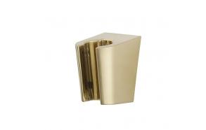 plastic shower head holder, brushed brass