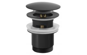 Push Button Round Basin Waste, big plug, mat black, diam 67 mm 1 1/4´´