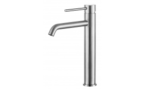 high basin mixer Cherry, brushed steel