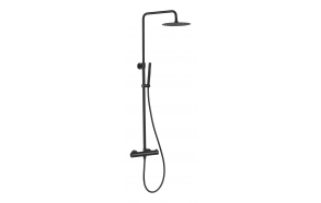 rain shower set with thermostatic mixer Cherry, black mat