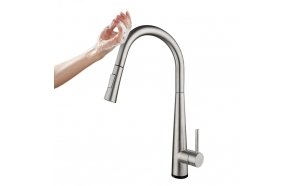 """Touch free"" kitchen mixer Cherry, brushed steel"