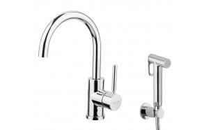 basin mixer Form A with movable spout and bidet spray, chrome