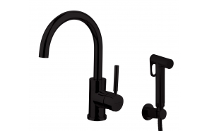 basin mixer Form A with movable spout and bidet spray, mat black